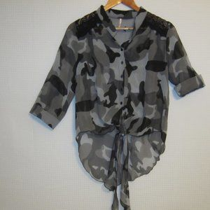 POOF sheer, high low, tie front, buttoned down top